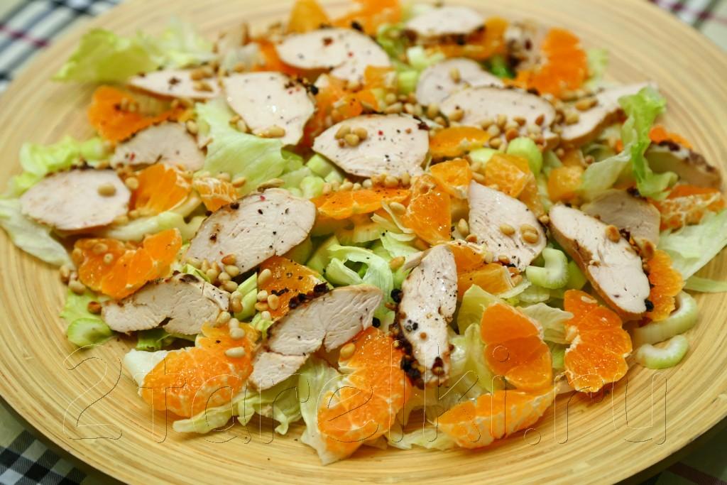 "Салат с курицей и мандаринами ""Зимнее солнце"" 7"