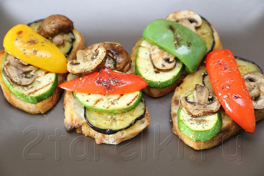Брускетта с овощами и грибами 6