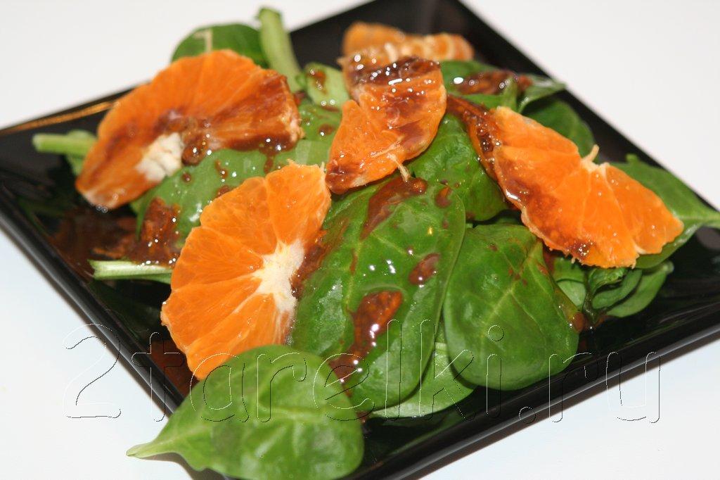 Салат из шпината с мандарином