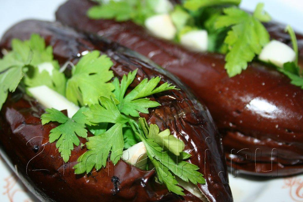 баклажаны-гриль с зеленью