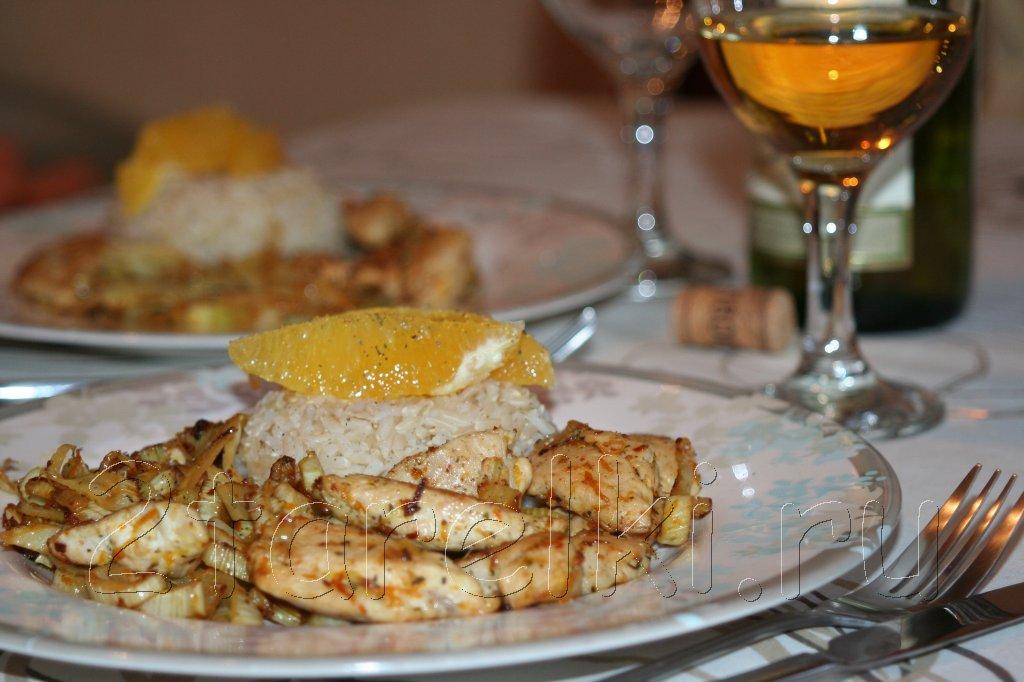 курица с фенхелем и апельсином
