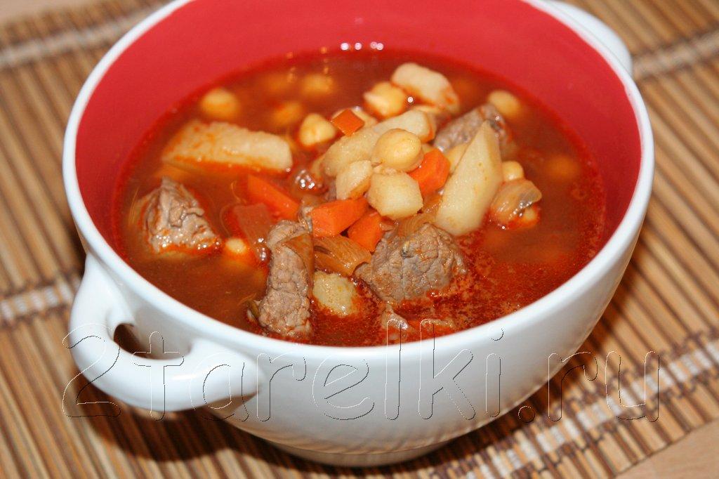 суп из говядины с нутом