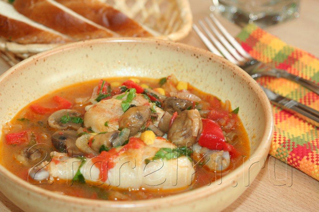 жаркое с грибами и курицей в духовке