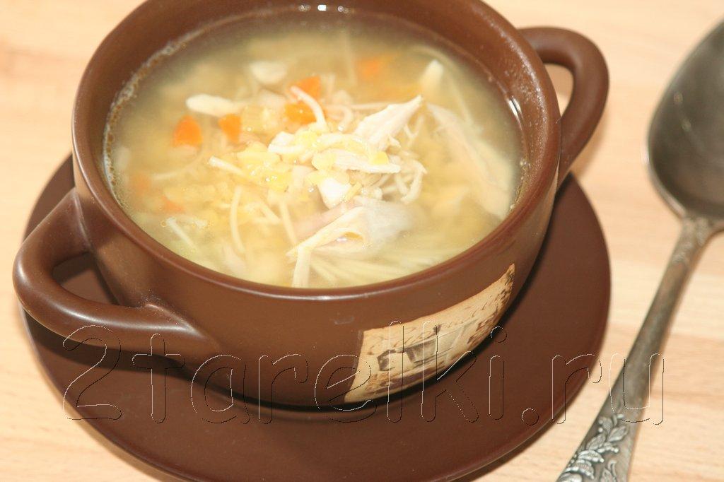 Куриный суп с вермишелью и чечевицей