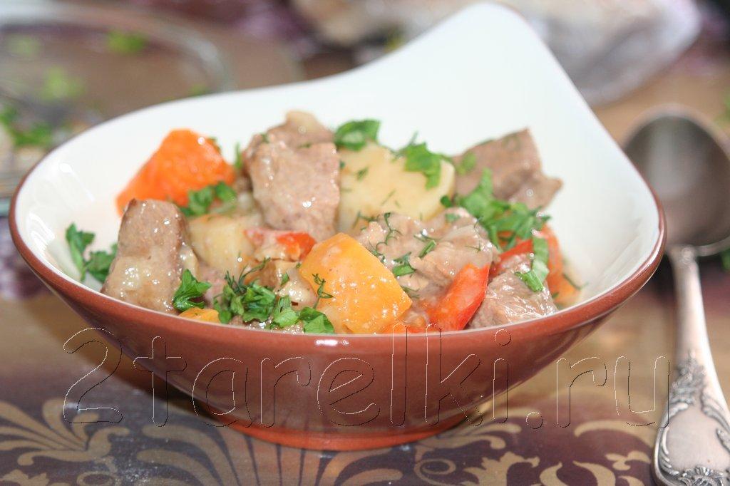 Жаркое из свинины и овощей в пиве