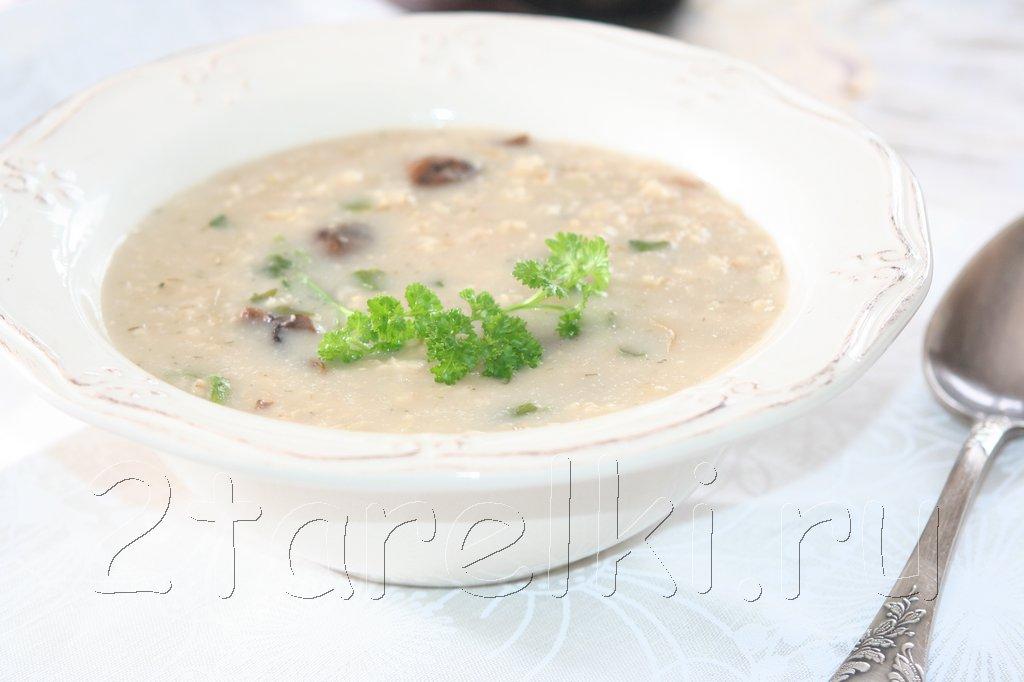 Овсяный суп с шампиньонами