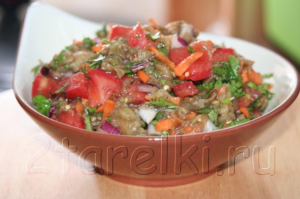 Салат из печеных баклажанов с кинзой