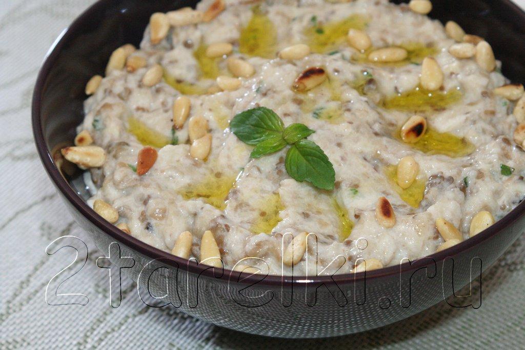Закуска-соус из печеных баклажанов с йогуртом