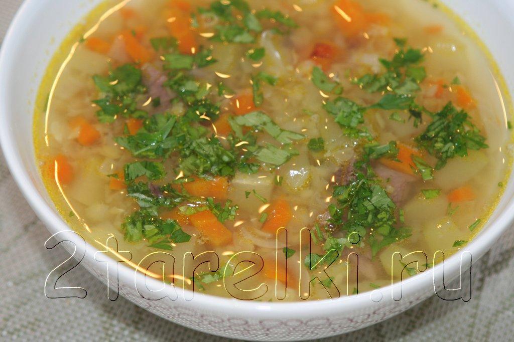 Мясной суп с чечевицей и кабачками