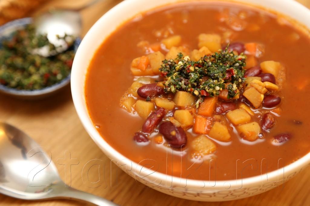 Ливанский суп из хвостов с фасолью