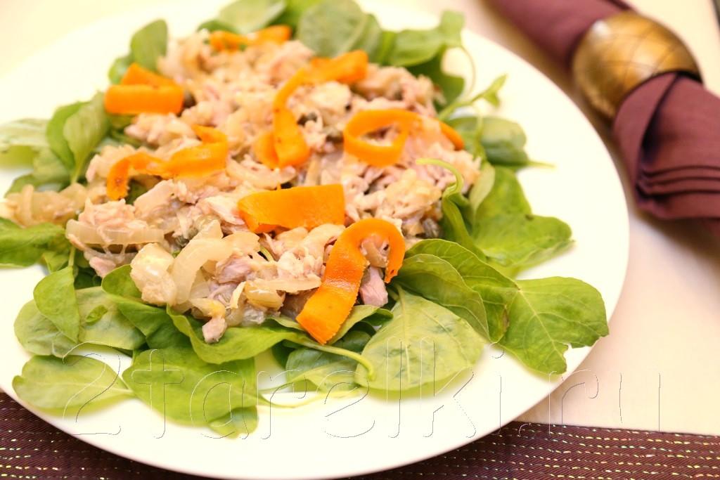 салат с тунцом и шпинатом