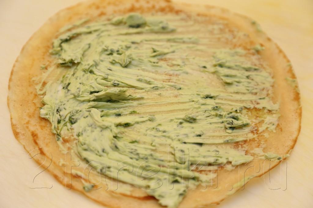 Блинчики с семгой и шпинатным сыром 3