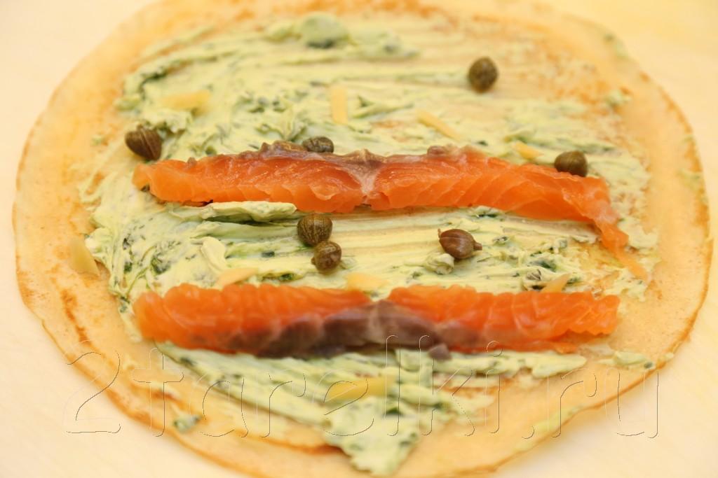 Блинчики с семгой и шпинатным сыром 5