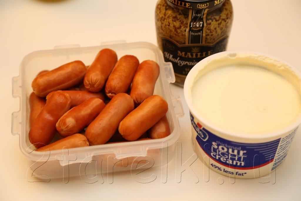 Печеная картошка с сосисками в горчичном соусе 1