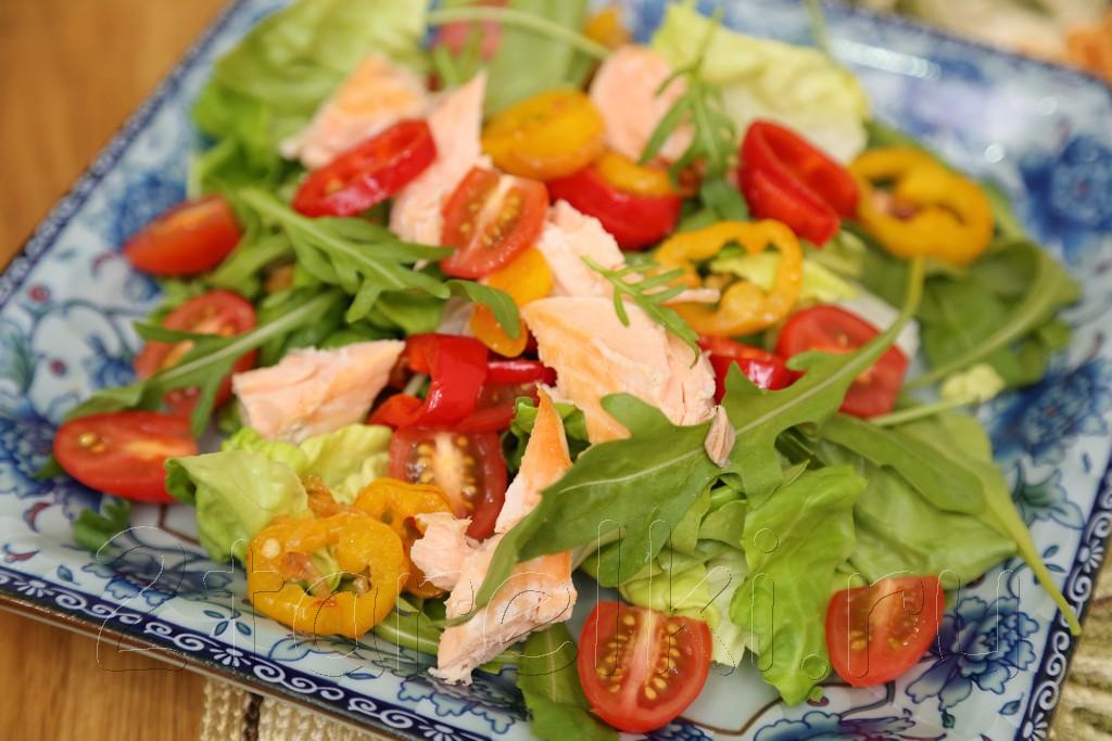 Фитнесс-салат с семгой и рукколой 5