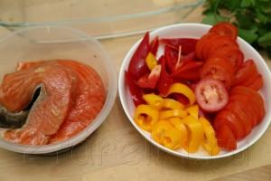 Запеченная с овощами семга 3