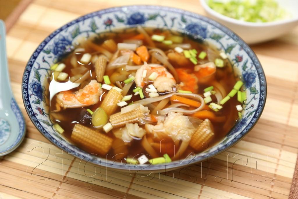 Грибной суп с креветками и овощами по-азиатски 9