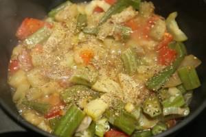 Овощное рагу с бамией (окрой) 11