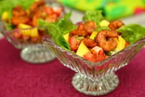 "Салат с манго и креветками ""Sunset"""