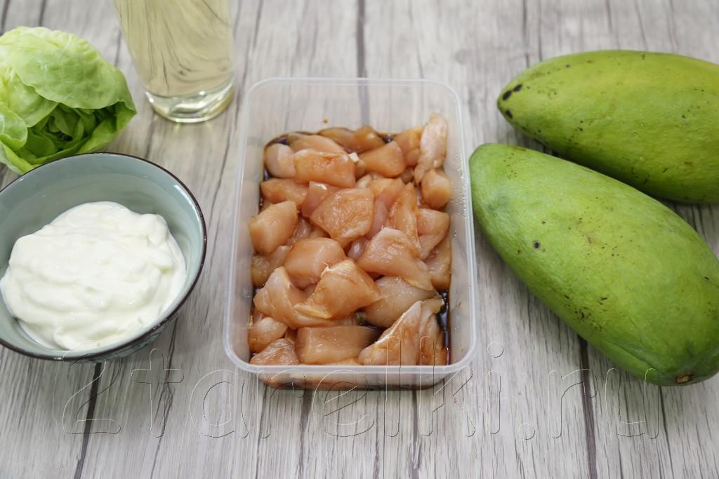 Салат из курицы и манго «Наслаждение»