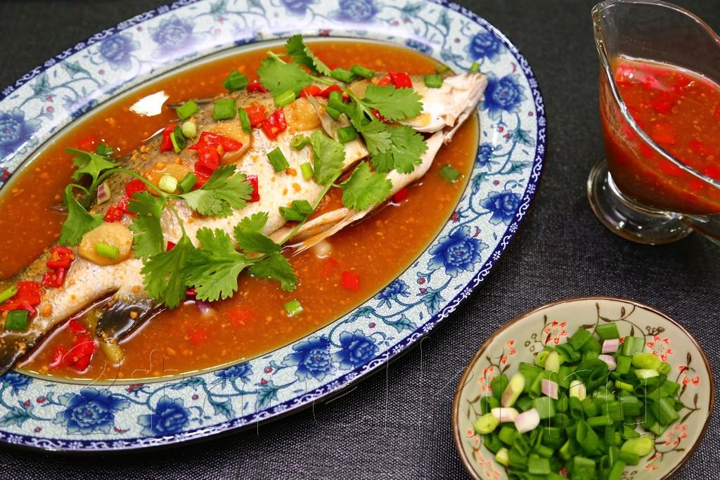 Рыба на пару в остром соусе с соевой пастой 7