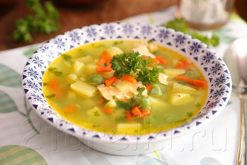 Картофельный суп из семги с горошком