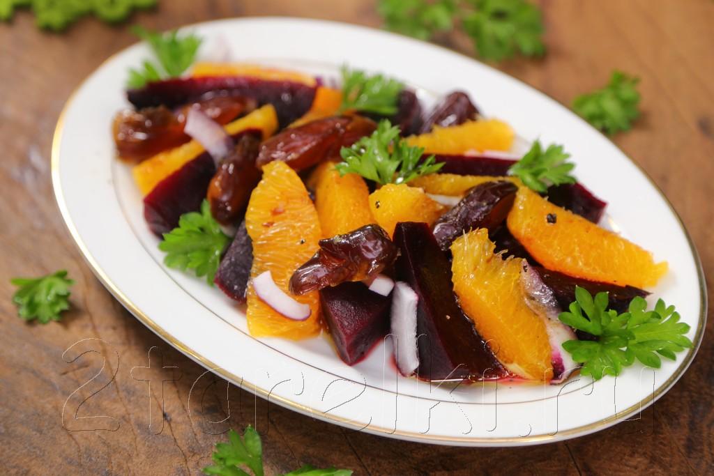 Салат из свеклы с финиками и апельсинами