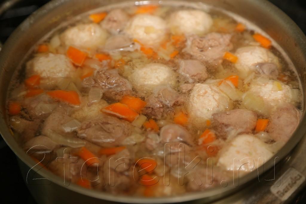 Суп с потрошками и куриными фрикадельками